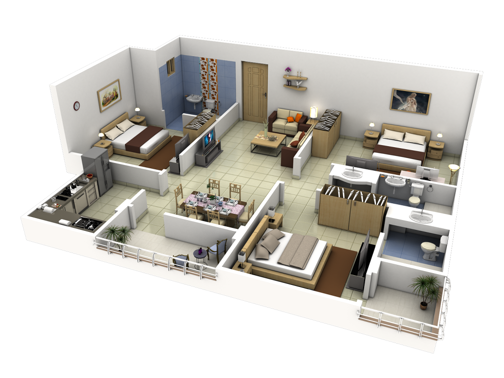 3D-drawing-Render-Household